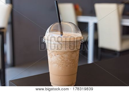 Milk Coffee Smoothie In Plastic Cup