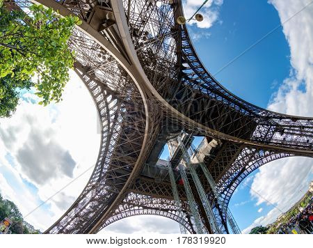 The Eiffel tower in Paris. View from below.