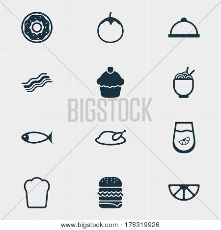 Vector Illustration Of 12 Cuisine Icons. Editable Pack Of Loaf, Grill, Platter And Other Elements.