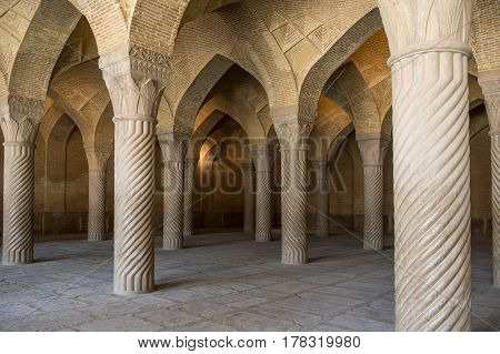 The Vakil Mosque is a mosque in Shiraz contains 48 monolithic pillars carved in spirals Fars Province Shiraz Southern Iran