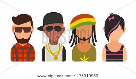 Set icon different subcultures people. Hipster, raper, emo, rastafarian. Vector flat illustration on white background