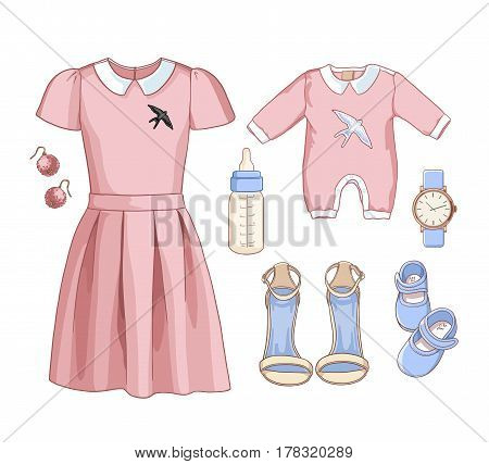 Illustration stylish and trendy clothing. Family Look. Mother with baby. Dress, bag, accessories, earrings, sunglasses, overalls, baby, newborns, clothes for children, a bottle of milk, booties.