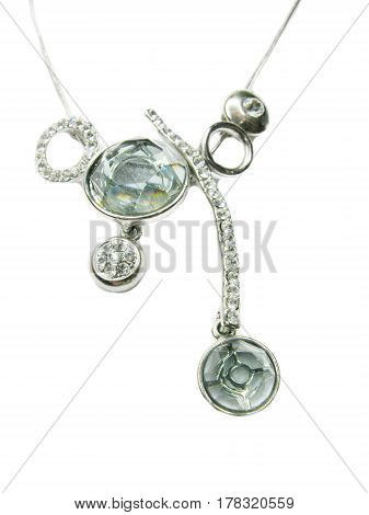 silver pendant jewelry necklace fashion on silvery chain