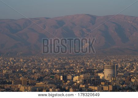 Sunrise aerial view of Shiraz the capital of Fars Province one of major city of Iran