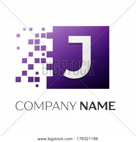 Letter J vector logo symbol in the colorful square with shattered blocks on white background. Vector template for your design
