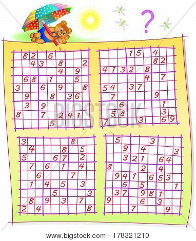 Logic puzzle with Sudoku games. Worksheet for children and adults. Vector image.