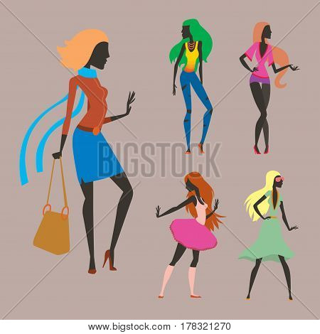 Fashion look girl silhouette beautiful girl woman female and pretty, young, model, style, hair, lady character glamour cute vector illustration. Attractive dress lifestyle person.