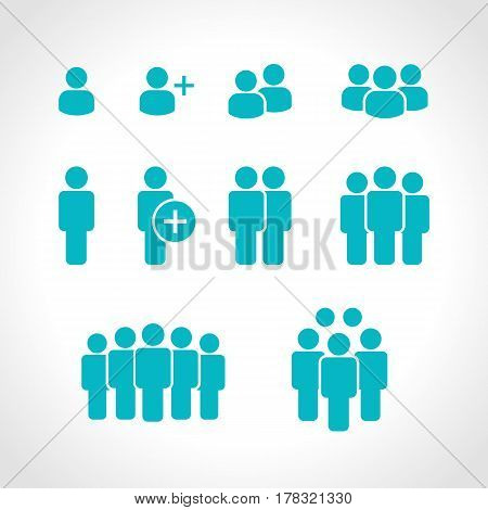 Team icons vector set. Group of people icons isolated. Business team icons collection. black silhouettes simple. Team icons in flat style.