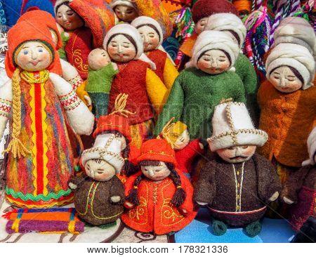 ALMATY KAZAKHSTAN - MARCH 26 2017: Traditional souvenirs with ornaments in street market in Almaty Kazakhstan