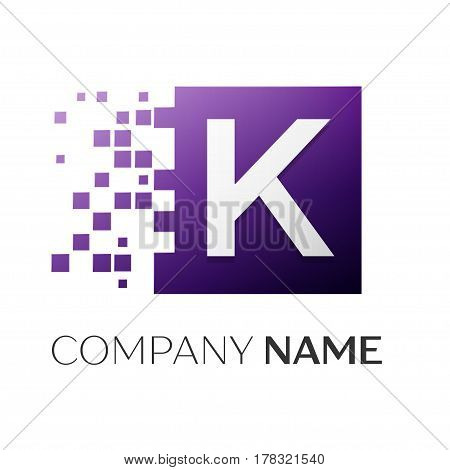 Letter K vector logo symbol in the colorful square with shattered blocks on white background. Vector template for your design