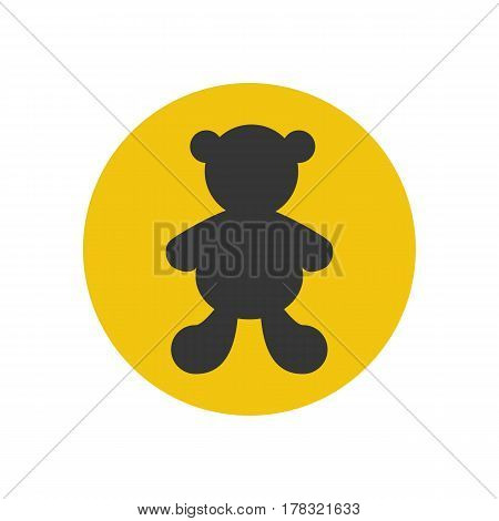Bear silhouette on the yellow background. Vector illustration