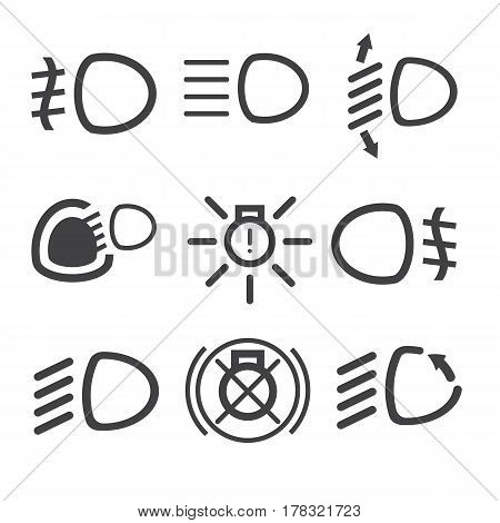 Car light dashboard icons on the white background. Vector illustration