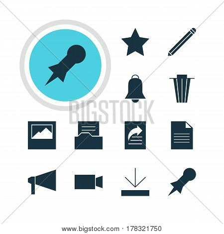 Vector Illustration Of 12 Online Icons. Editable Pack Of Document, Bookmark, Document Directory And Other Elements.