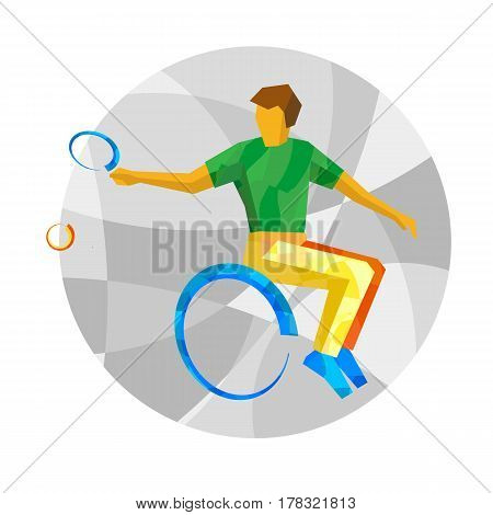 Physically Disabled Tennis Player With Abstract Patterns