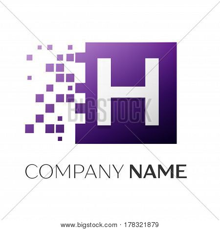 Letter H vector logo symbol in the colorful square with shattered blocks on white background. Vector template for your design