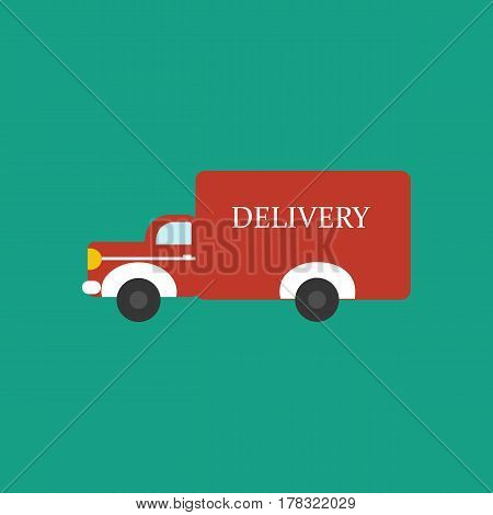 Delivery car on the green background. Vector illustration