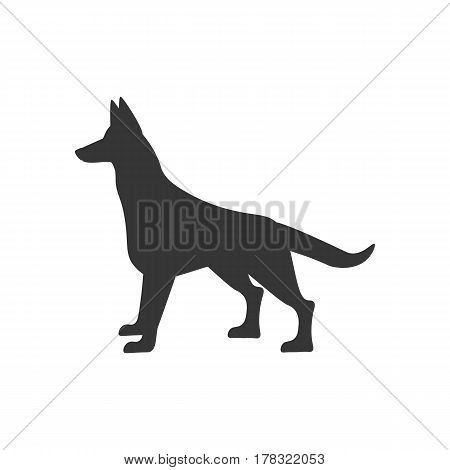 Dog silhouette illustration on the white background. Vector illustration