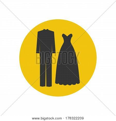 Groom costume and bride dress on the yellow background. Vector illustration
