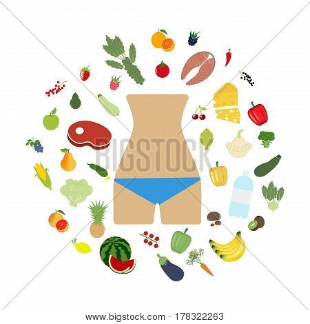 Health food beautiful body on the white background. Vector illustration