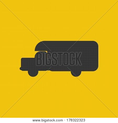 House on wheels silhouette on the yellow background. Vector illustration