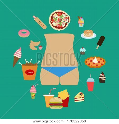 Junk food obesity on the green background. Vector illustration