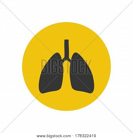 Lungs silhouette on the yellow background. Vector illustration