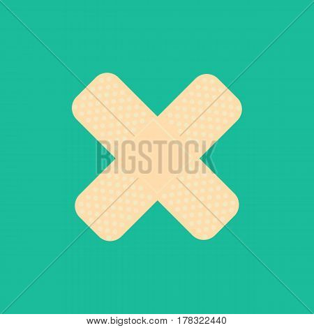 Medical patch on the green background. Vector illustration