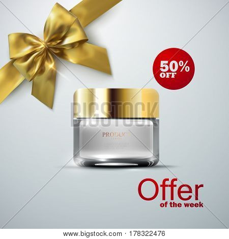 Anti wrinkle cream ads. 3d vector beauty illustration of lifting facial cream glass jar, golden bow and ribbon. Cosmetics product package mock-up for fashion magazine poster design. Offer of the week