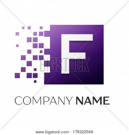 Letter F vector logo symbol in the colorful square with shattered blocks on white background. Vector template for your design