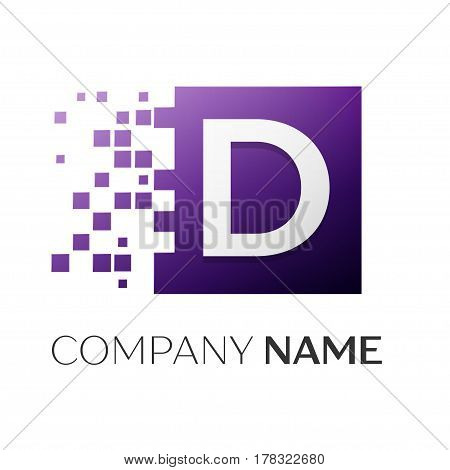 Letter D vector logo symbol in the colorful square with shattered blocks on white background. Vector template for your design