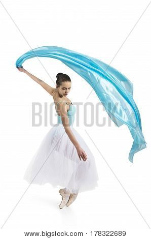 Young,smiling girl dancing the ballet. Studio shot of ballet on a white background. The isolated image.