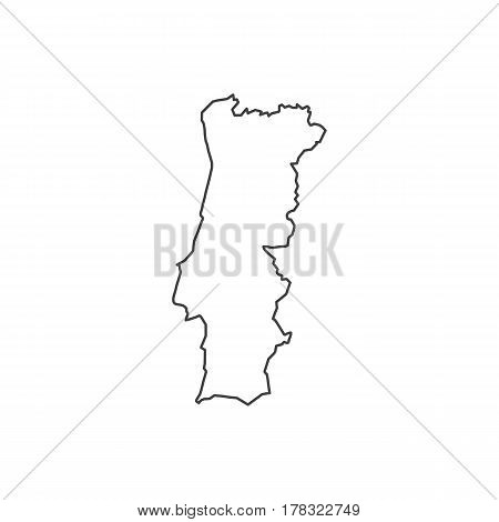 Portuguese Republic map silhouette illustration on the white background. Vector illustration