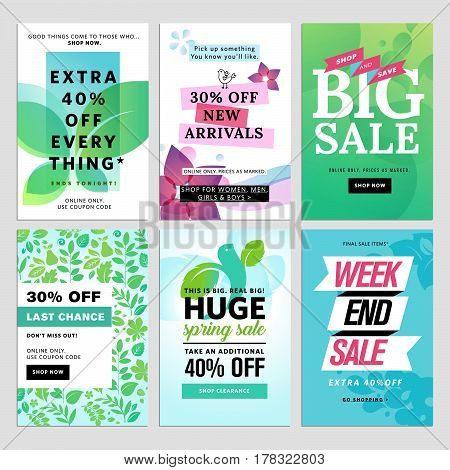 Mobile sale banners collection. Spring sale banners. Vector illustrations of online shopping website and mobile website banners, posters, newsletter designs, ads, coupons, social media banners.