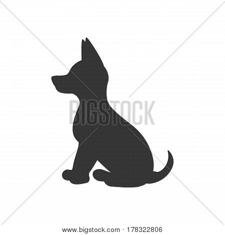 Puppy silhouette illustration on the white background. Vector illustration