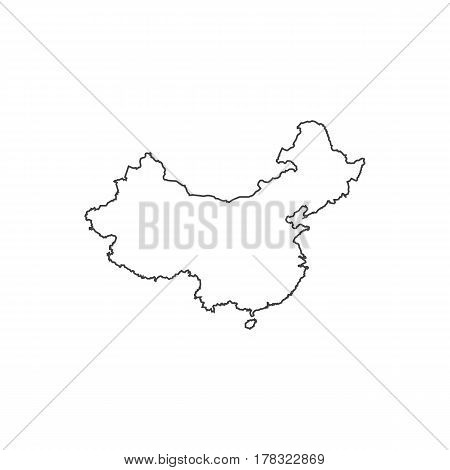 Republic of China map silhouette illustration on the white background. Vector illustration