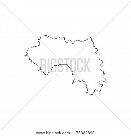 Republic of Guinea map silhouette illustration on the white background. Vector illustration