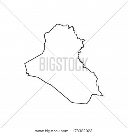 Republic of Iraq map silhouette illustration on the white background. Vector illustration