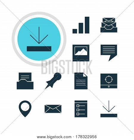 Vector Illustration Of 12 Web Icons. Editable Pack Of Document Directory, Letter, Thumbtack And Other Elements.
