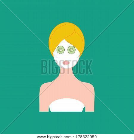 Face mask. Spa beauty salon on the green background. Vector illustration