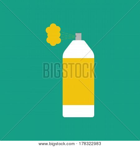 Spray paint can on the green background. Vector illustration