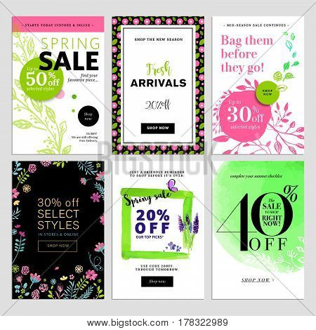 Set of social media sale banners, and ads web templates. Spring sale banners. Vector illustrations of online shopping website and mobile website banners, posters, newsletter designs, ads, coupons, social media banners.