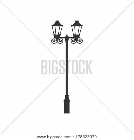 Street light silhouette on a white background. Vector illustration