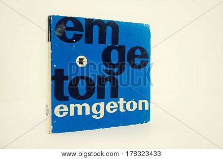 PRAGUE CZECH REPUBLIC - MARCH 17: Emgeton vintage reel-to-reel audio recorder tape isolated on white background on March 17 2017 in Prague Czech republic.