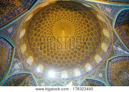 View on Dome of Lotfollah mosque in Isfahan - Iran