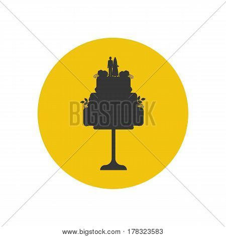 Wedding cake silhouette on the yellow background. Vector illustration