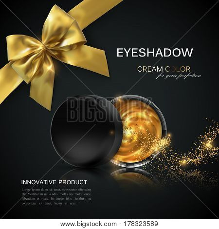 Eye shadows or blusher ads. Cosmetics package design. 3d vector beauty illustration. Glamorous golden eyeshadows or cheek blush jar with golden particles and bow. Product package mock-up