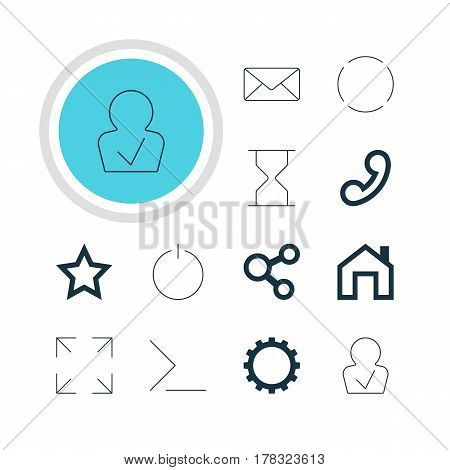 Vector Illustration Of 12 User Icons. Editable Pack Of Handset, Publish  , Repeat Elements.