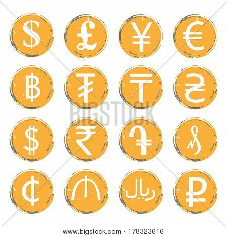 Sixteen yellow-gray vector grunge icons with white images of modern currency symbols of various countries for exchange offices.