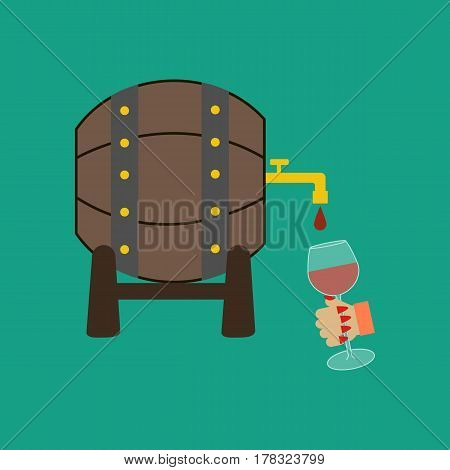 Wine barrel on the green background. Vector illustration