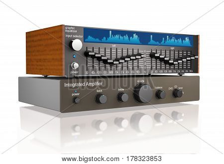 Audio integrated power amplifier and graphic equalizer on white background (3d illustration)